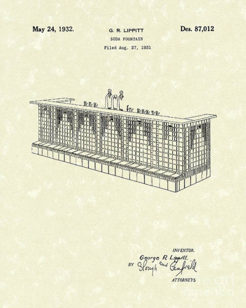 Wall Art - Drawing - Soda Fountain 1932 Patent Art by Prior Art Design