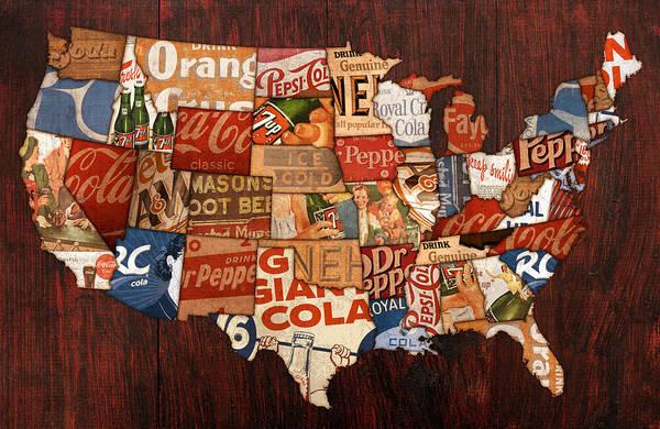 America Map Mixed Media - Soda Pop America by Design Turnpike