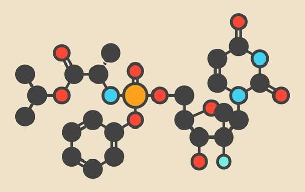 Sofosbuvir Hepatitis C Drug Molecule Art Print