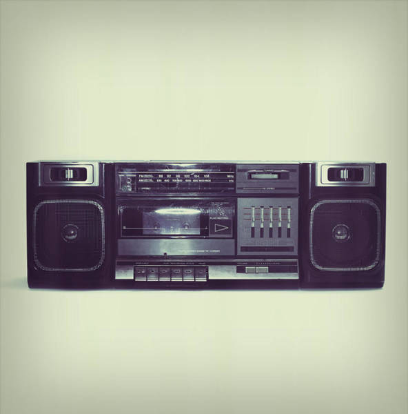 Equipment Photograph - Soft Black Boombox Centered With White by Sjharmon