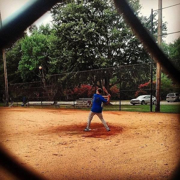 #softball #playing #batting #brother Art Print
