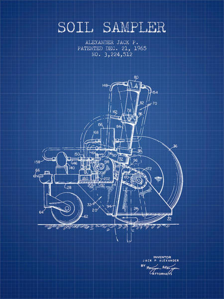 Old Tractor Digital Art - Soil Sampler Machine Patent From 1965 - Blueprint by Aged Pixel