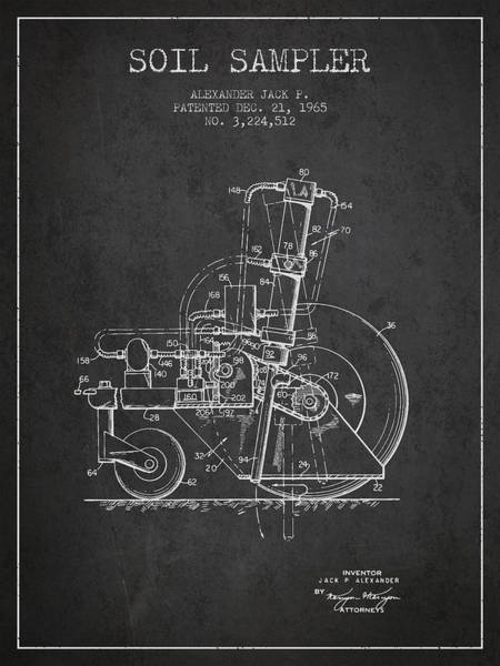Old Tractor Digital Art - Soil Sampler Machine Patent From 1965 - Dark by Aged Pixel