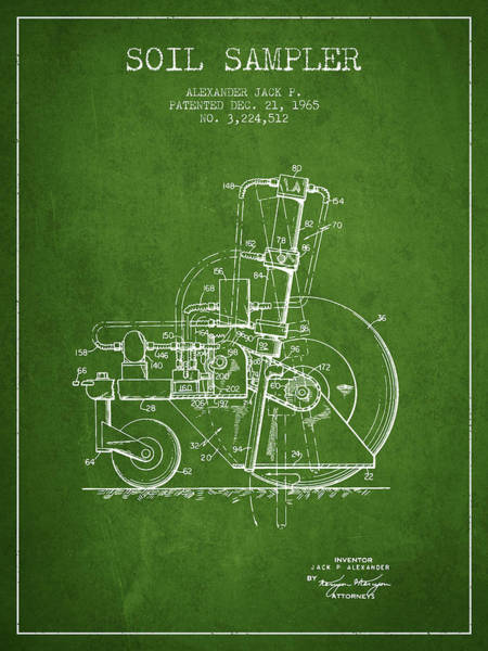 Old Tractor Digital Art - Soil Sampler Machine Patent From 1965 - Green by Aged Pixel