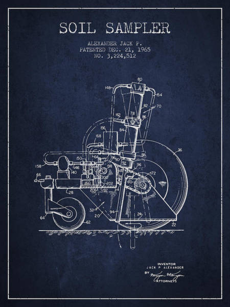 Old Tractor Digital Art - Soil Sampler Machine Patent From 1965 - Navy Blue by Aged Pixel
