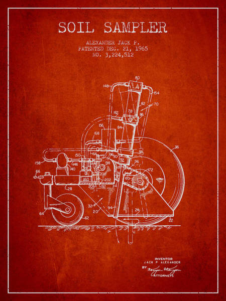 Old Tractor Digital Art - Soil Sampler Machine Patent From 1965 - Red by Aged Pixel