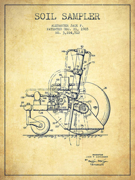 Old Tractor Digital Art - Soil Sampler Machine Patent From 1965 - Vintage by Aged Pixel