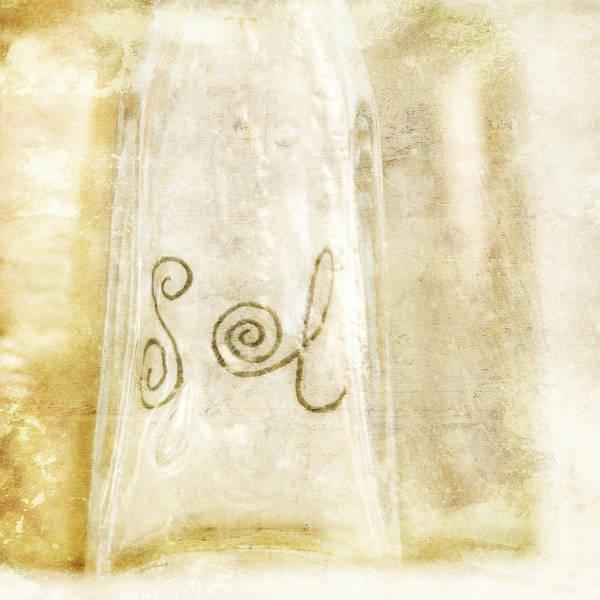 Cursive Photograph - Sol Sun Romantic Glass Bottle In Yellow by Angela Bonilla