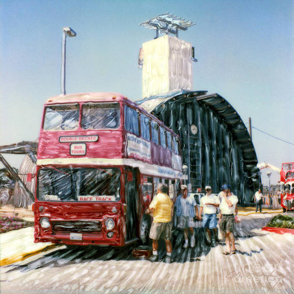 Mixed Media - Solana Beach Double Decker Bus To Del Mar by Glenn McNary