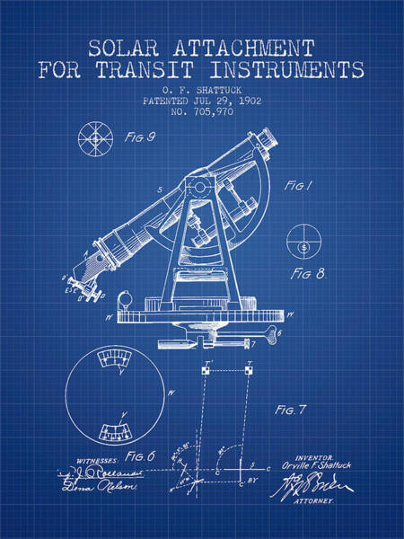 Wall Art - Digital Art - Solar Attachement For Transit Instruments Patent From 1902 - Blu by Aged Pixel