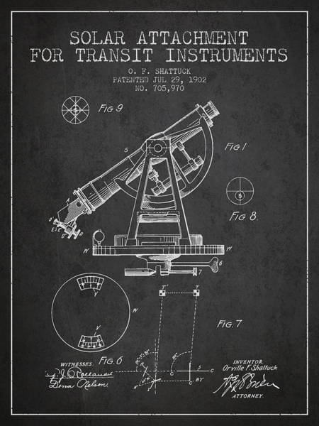 Wall Art - Digital Art - Solar Attachement For Transit Instruments Patent From 1902 - Cha by Aged Pixel