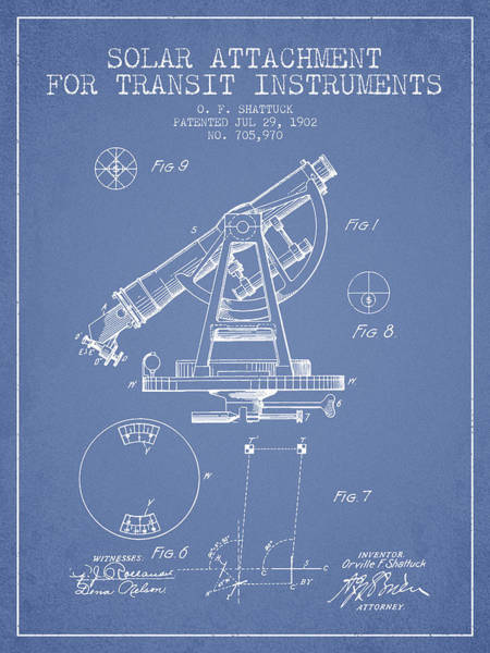 Wall Art - Digital Art - Solar Attachement For Transit Instruments Patent From 1902 - Lig by Aged Pixel