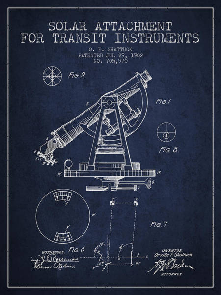 Wall Art - Digital Art - Solar Attachement For Transit Instruments Patent From 1902 - Nav by Aged Pixel