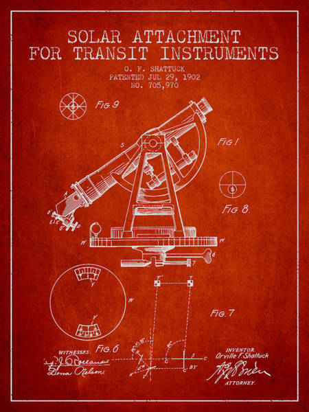 Wall Art - Digital Art - Solar Attachement For Transit Instruments Patent From 1902 - Red by Aged Pixel