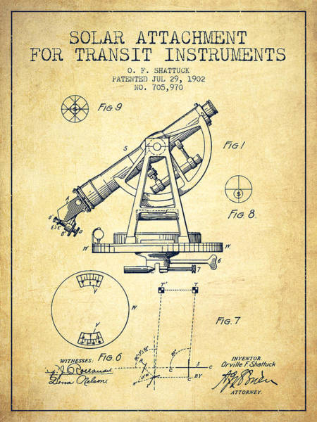 Wall Art - Digital Art - Solar Attachement For Transit Instruments Patent From 1902 - Vin by Aged Pixel