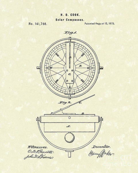 Cook Drawing - Solar Compass 1873 Patent Art by Prior Art Design