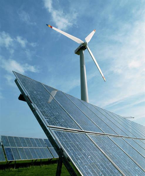 Solar Panels Photograph - Solar Panels & Wind Turbine by Martin Bond/science Photo Library