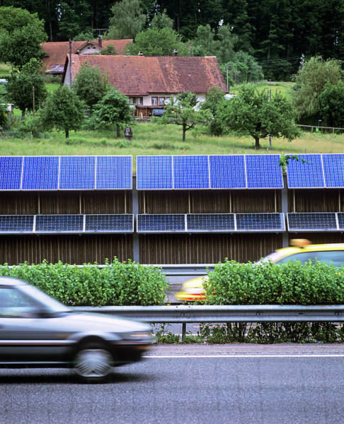 Solar Panels Photograph - Solar Panels By A Motorway by Martin Bond/science Photo Library