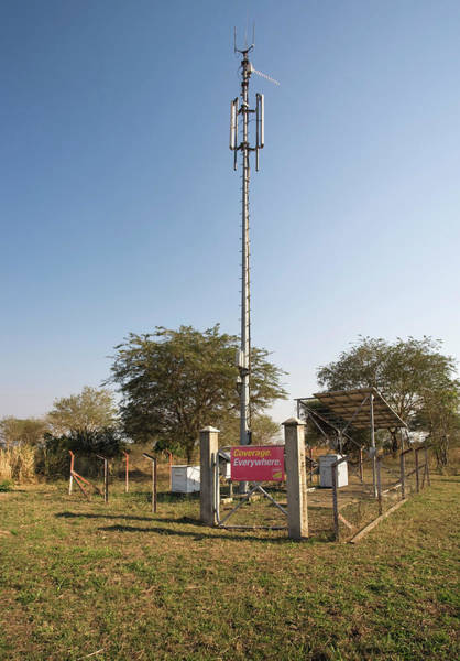 Controversial Wall Art - Photograph - Solar Powered Mobile Phone Mast by Emmeline Watkins/science Photo Library