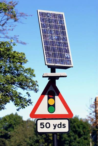 Solar Panels Photograph - Solar-powered Road Sign by Simon Fraser/science Photo Library