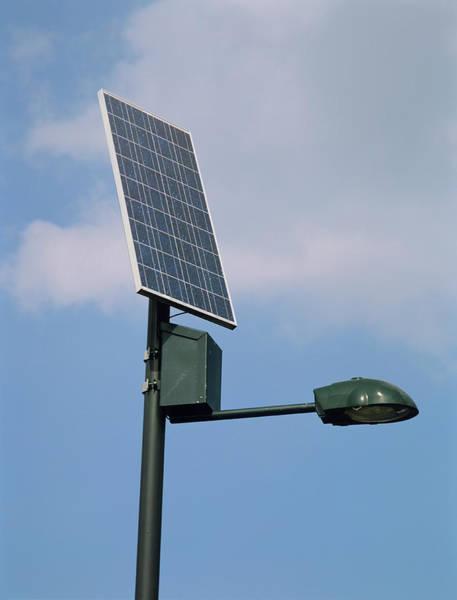 Lighting Equipment Photograph - Solar Powered Streetlight by Chris B Stock/science Photo Library