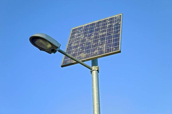 Lighting Equipment Photograph - Solar Powered Streetlight by Simon Fraser/science Photo Library