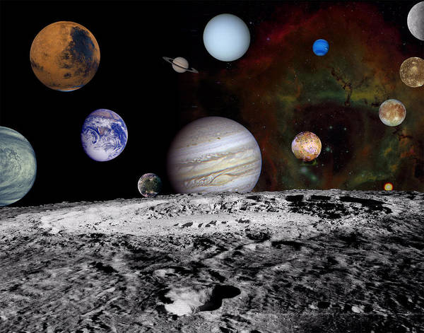 Photograph - Solar System Montage Of Voyager Images by Movie Poster Prints