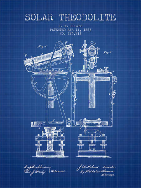 Wall Art - Digital Art - Solar Theodolite Patent From 1883 - Blueprint by Aged Pixel