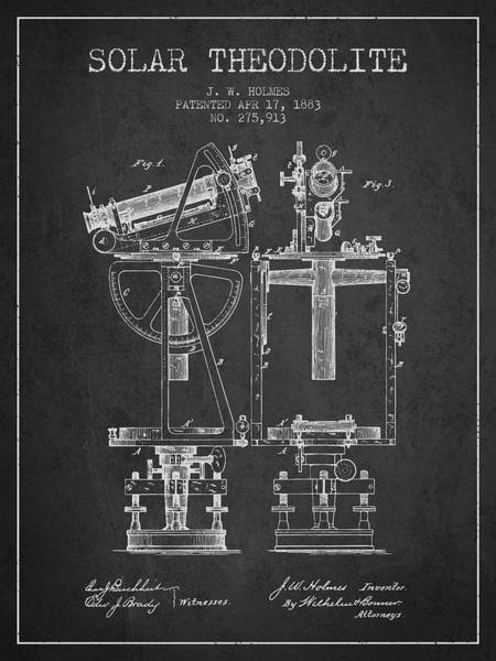 Wall Art - Digital Art - Solar Theodolite Patent From 1883 - Charcoal by Aged Pixel