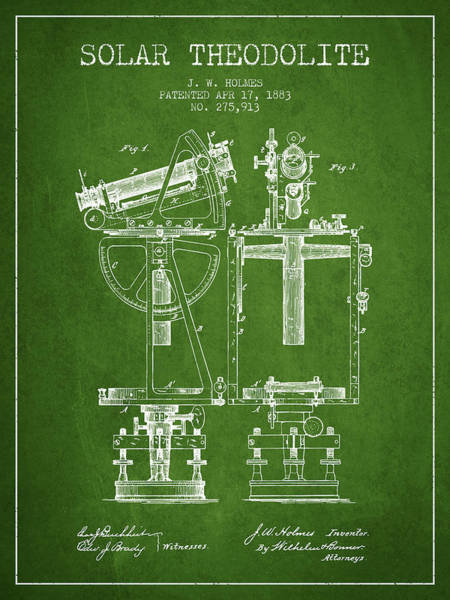 Wall Art - Digital Art - Solar Theodolite Patent From 1883 - Green by Aged Pixel