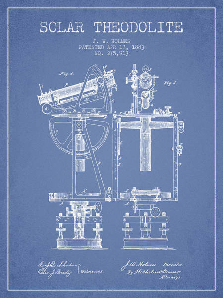 Wall Art - Digital Art - Solar Theodolite Patent From 1883 - Light Blue by Aged Pixel