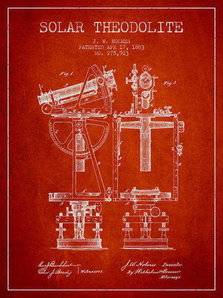 Wall Art - Digital Art - Solar Theodolite Patent From 1883 - Red by Aged Pixel