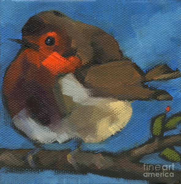 Painting - Sold - Rock'n Baby Robin by Nancy  Parsons