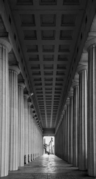 Wall Art - Photograph - Soldier Field Colonnade Chicago B W B W by Steve Gadomski