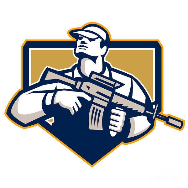 Assault Weapons Digital Art - Soldier Military Serviceman Assault Rifle Retro by Aloysius Patrimonio