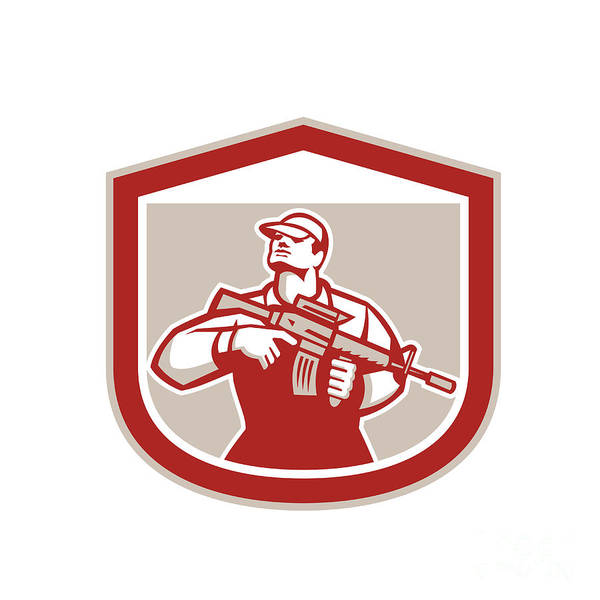 Assault Weapons Digital Art - Soldier Military Serviceman Holding Assault Rifle Crest Retro by Aloysius Patrimonio