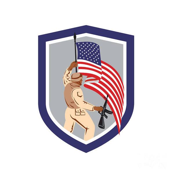 Assault Weapons Digital Art - Soldier Military Serviceman Holding Flag Rifle Shield by Aloysius Patrimonio