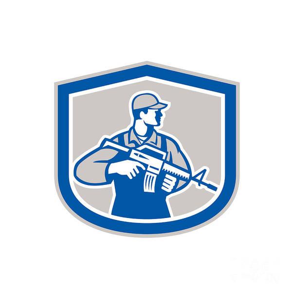 Assault Weapons Digital Art - Soldier Military Serviceman Rifle Side Crest Retro by Aloysius Patrimonio