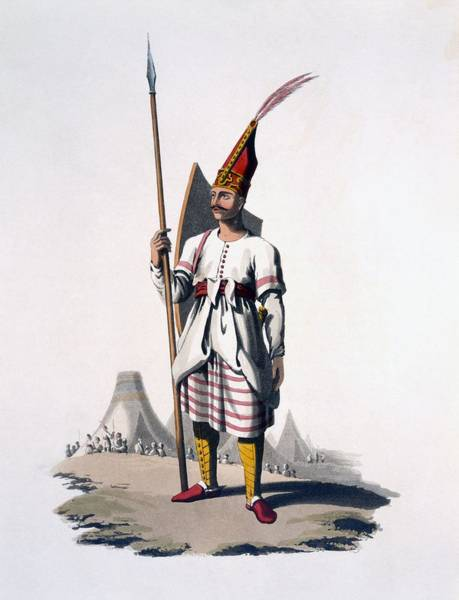 Turkey Feather Wall Art - Drawing - Soldier Of Albania, An Infantryman by English School