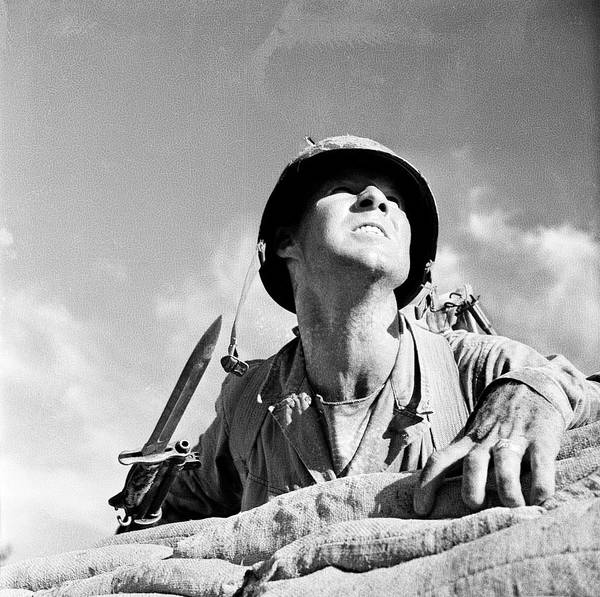 Infantryman Wall Art - Photograph - Soldier Posing Behind Sandbags by Horst P. Horst