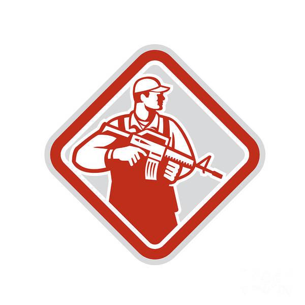 Assault Weapons Digital Art - Soldier Serviceman Military Assault Rifle Shield Retro by Aloysius Patrimonio