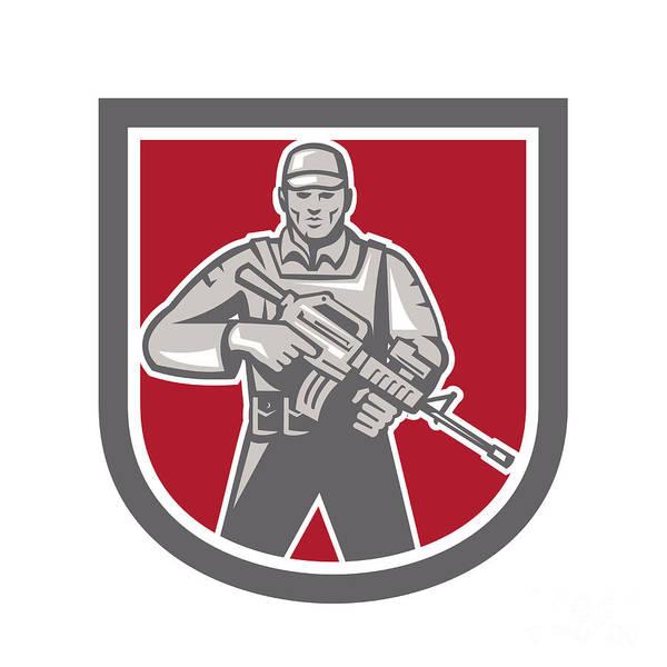 Assault Weapons Digital Art - Soldier Serviceman With Assault Rifle Shield by Aloysius Patrimonio