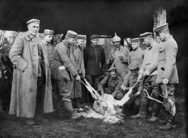 Photograph - Soldiers Cleaning A Deer by Underwood Archives