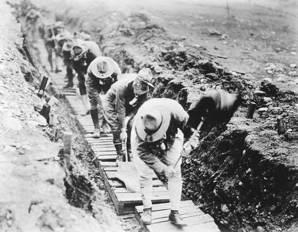 Trench Wall Art - Photograph - Soldiers Fanning Gas From A Trench by Library Of Congress
