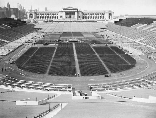 Soldier Field Photograph - Soldier's Field Boxing Match by Underwood Archives