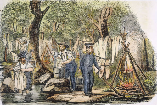 Clothesline Painting - Soldiers In Camp, 1840s by Granger