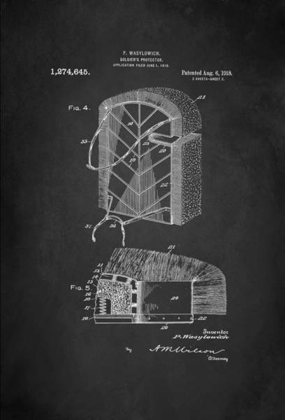 Grenade Wall Art - Digital Art - Soldier's Protector Patent 1918 by Patricia Lintner
