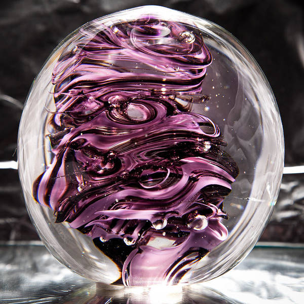 Sculpture - Solid Glass Sculpture Rp5 - Purple And White by David Patterson