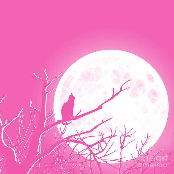 Pink And White Digital Art - Solitary Pink Background by Methune Hively