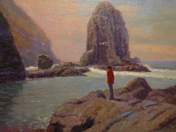 Nz.impressionist Painting - Solitude Cannibal Bay by Terry Perham
